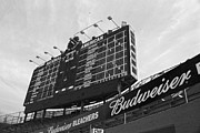 Wrigley Field Framed Prints - Wrigley Scoreboard sans color Framed Print by David Bearden