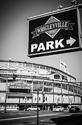 Wrigley Field Framed Prints - Wrigleyville Sign and Wrigley Field in Black and White Framed Print by Paul Velgos