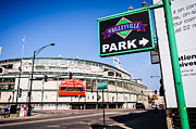 Cubs Baseball Park Framed Prints - Wrigleyville Sign and Wrigley Field in Chicago Framed Print by Paul Velgos