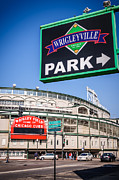Chicago Cubs Field Framed Prints - Wrigleyville Sign and Wrigley Field Framed Print by Paul Velgos