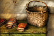 Books Framed Prints - Writer - A Basket and some Books Framed Print by Mike Savad