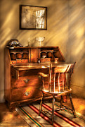 Drawer Posters - Writer - A chair and a desk Poster by Mike Savad