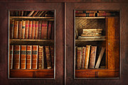 Vintage Books Framed Prints - Writer - Books - The book cabinet  Framed Print by Mike Savad
