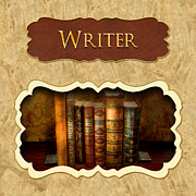 Authors Metal Prints - Writer button Metal Print by Mike Savad