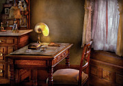 Curtains Photo Framed Prints - Writer - Desk of an Inventor Framed Print by Mike Savad