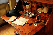 Vintage Hats Posters - Writer - The desk of a gentleman  Poster by Mike Savad