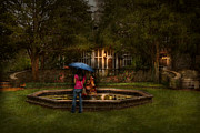 Raining Photo Prints - Writer - Wating for him  Print by Mike Savad
