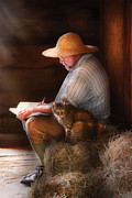 Farmer Art - Writer - Writing in my Journal by Mike Savad