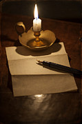 Candle Lit Prints - Writing A Letter By Candle Light Print by Lee Avison