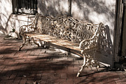 Wrought Iron Bench In White Print by Jennifer Apffel