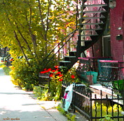 Montreal Memories. Art - Wrought Iron Fence Balcony And Staircases Verdun Stairs Summer Scenes Carole Spandau  by Carole Spandau