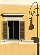 David Letts Metal Prints - Wrought Iron Street Lamp Shadow of Ancient Rome Metal Print by David Letts