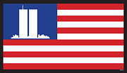 Twin Towers Trade Center Digital Art Posters - WTC Memorial Flag Poster by John Bruno