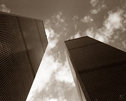 New York City Skyline Photos - WTC Twin Towers Sepia by Stacey May