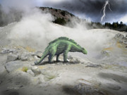 Dinosaur Illustration Mixed Media Prints - Wuerhosaurus Near Volcanic Vent Print by Frank Wilson