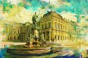 Old Town Painting Prints - Wurzburg Residence with the Court Gardens and Residence Square Print by Catf