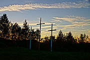 The Cross Framed Prints - WV Interstate 77 North-Marker 48-Crosses of Mercy Framed Print by Timbo Connard