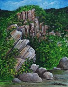 Swimming Hole Paintings - WV mountain rock outcrop by Joan Mace