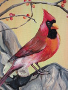 Animal Lover Paintings - WV State Bird by Leslie Manley