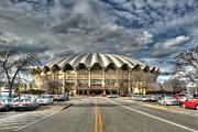 Wvu Basketball Coliseum Arena In Daylight Print by Dan Friend