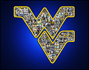 Fairchild Art Studio Prints - WVU Football BLUE Print by Fairchild Art Studio