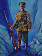 Soldier Paintings - WW 1 Soldier by Derrick Higgins