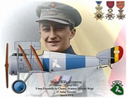 Belgium Mixed Media - WW I Ace Major Willy Coppens by A Hermann