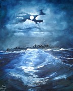 Solomon Paintings - W.W.2  U.S.S. Hovey by L Gail Garrett
