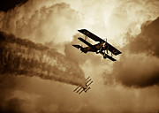 Smoke Trail Framed Prints - WWI Dog Fight Framed Print by Rastislav Margus
