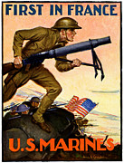 First World War Painting Metal Prints - WWI First in France USMC Metal Print by Historic Image
