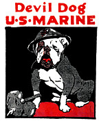 World War One Paintings - WWI Marine Corps Devil Dog by Historic Image