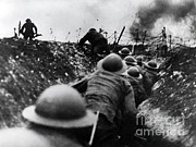 Wwi Over The Top Trench Warfare Print by Photo Researchers