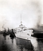 Greatest Generation Photo Prints - WWII Coast Guard Cutter Campbell Print by Historic Image