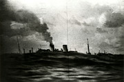 Greatest Generation Photo Prints - WWII Final Moments of Japanese Freighter Print by Historic Image