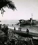 Greatest Generation Photo Prints - WWII Landing on Dutch New Guinea Print by Historic Image