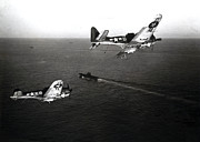 Greatest Generation Photo Prints - WWII Navy Dive Bombers Headed Home Print by Historic Image