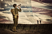Brass Helmet Posters - WWII Soldier Playing Taps With Flag Horizon Poster by Kriss Russell