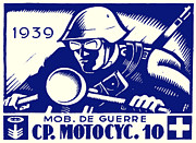Swiss Art Paintings - WWII Swiss Motorcycle Company by Historic Image