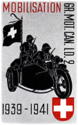 Swiss Art Paintings - WWII Swiss Recon Motorcycle by Historic Image