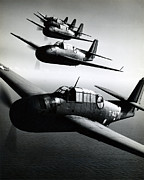 Greatest Generation Photo Prints - WWII US Navy Avengers in Flight Print by Historic Image