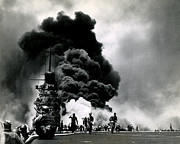 Greatest Generation Photo Prints - WWII USS Bunker Hill Aflame Print by Historic Image