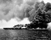 Greatest Generation Photo Prints - WWII USS Bunker Hill Burning Print by Historic Image