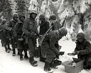 Greatest Generation Photo Prints - WWII Veterans Battle of the Bulge Print by Historic Image