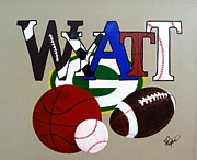 Basketball Paintings - Wyatt by Robin Sagulla