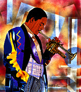 Lino Mixed Media - Wynton Marsalis by Everett Spruill