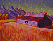 Wyoming Paintings - Wyoming Barn In Red by Cheryl Fecht