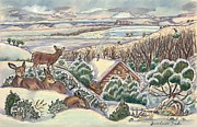 Snow Scene Pastels Posters - Wyoming Christmas Poster by Dawn Senior-Trask