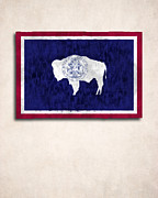 Wyoming Digital Art - Wyoming Map Art with Flag Design by World Art Prints And Designs
