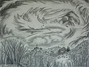 Wyoming Drawings - Wyoming Nocturne by Dawn Senior-Trask