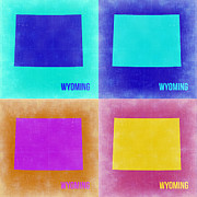 Wyoming Posters - Wyoming Pop Art Map 2 Poster by Irina  March